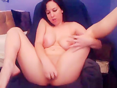 Busty Babe Sucks and Rides her Huge Purple Dildo