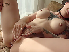 Caitie Rage In Finger Fucking My Tight Pussy In Front Of The Window With A Jeweled Plug
